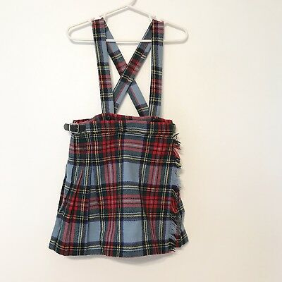 Genuine Vintage Scottish Skirt Kilt Plaid Wool 4t Suspenders Holiday Christmas