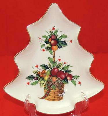 "LENOX Holiday Tartan Christmas Tree Dimension Nut Candy Serving Dish 8"" x 7"" (L)"