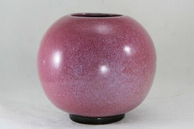 "Early FRANKOMA 4½"" Footed Ball Vase ROUND O MARK Redbud Glaze Black Foot - Ada"