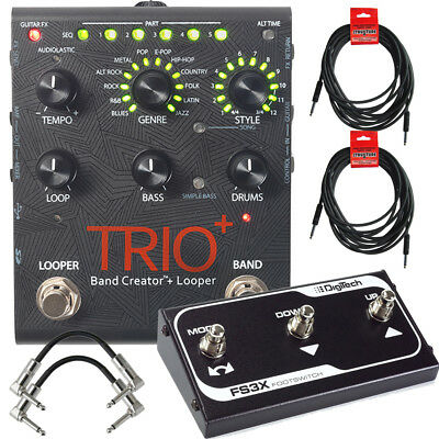 DigiTech Trio+ Band Creator & Looper Guitar Pedal w/ FS3X, Cables & Power Supply