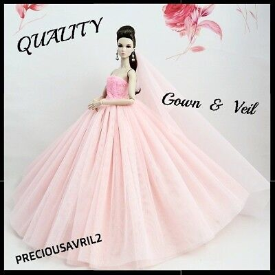 Brand new barbie doll clothes wedding party clothes pink evening dress & veil.