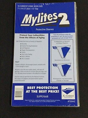 50 - E. GERBER MYLITES 2 CURRENT / MODERN 2-Mil Mylar Comic Bags Sleeves 700M2