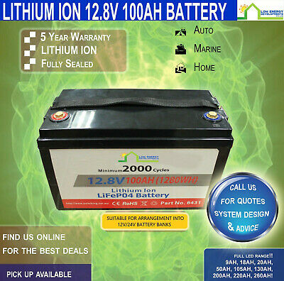 12V 100ah Lithium Ion LiFePo4 Deep Cycle Rechargeable Battery - FREE FREIGHT!!