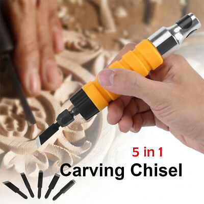 Electric Wood Carving Engraving Hand Chisel Tool Woodworking With Free 5 Chisels