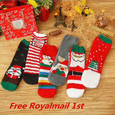 6 Pairs Christmas Ladies Soft Fluffy Lounge Cosy Bed Socks Winter Warm Xmas Gift