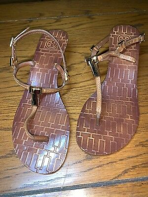 dc90a09dd4af Tory Burch Brown Leather Pauline Blue Wedge T Thong Sandals 9M EUC MSRP  265