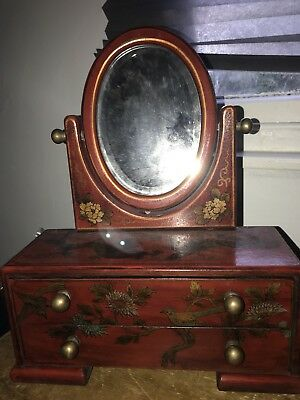 Antique Chinese Eastern Lacquered Mirror Box / Vanity Jewellery Box with Drawers