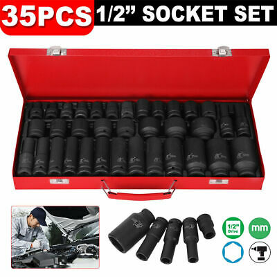 "35pcs 1/2"" Drive Deep Impact Metric Socket Set Car Garage Tools Set AU"