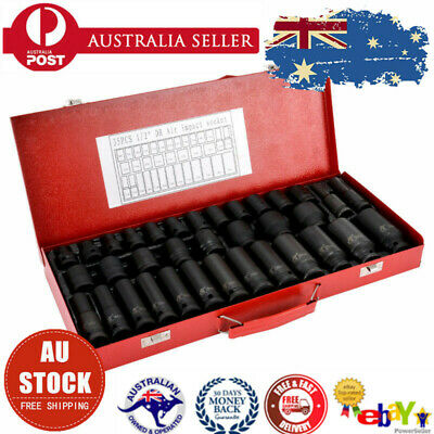 "35pcs 1/2"" Drive Deep Impact Socket Tool Set Metric Garage Workshop Tools AU"