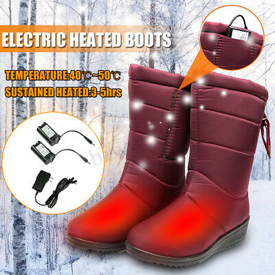 Electric Rechargeable Heated Boots Heating Women Shoes Keep Foot Warm+Adapter