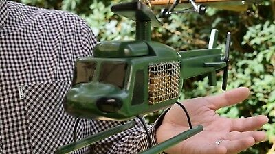Huey Helicopter Replica Outdoor Wooden Bird Feeder With Chain and Magnetic Lids