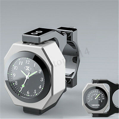 Motorcycle Handlebar Watch Thermometer Time Clock Temp Night Vision Aluminum