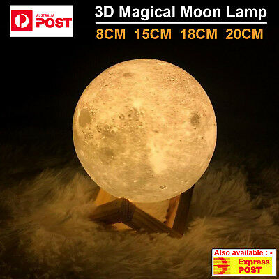 Dimmable 3D Magical Moon Lamp LED USB Night Light Touch Sensor Lamp Moonlight