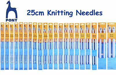 Pony 25cm Knitting Needles Pins - 2.00mm - 15mm - ALL SIZES - Single Ended