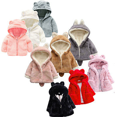 Toddler Kids Girls Boys Faux Fur Rabbit Ear Winter Outerwear Coat Warmer Jackets