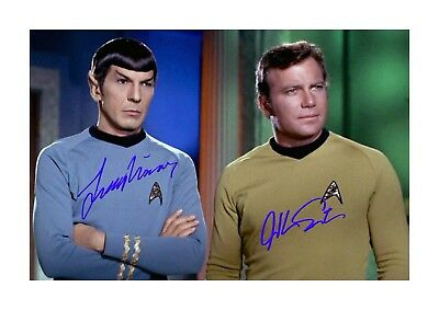 Star Trek A4 Shatner & Nimoy (1) signed mounted poster. Choice of frame.