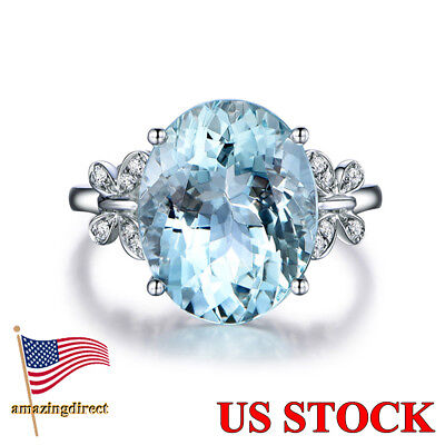 925 Sterling Silver Sky Blue Oval Zircon Engagement Bridal Jewelry Gifts Elegant