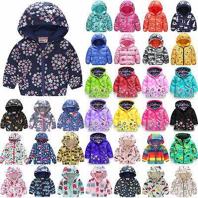 Winter Kids Boys Girls Zip Print Snowsuit Hooded Warm Puffer Coat Jacket Outwear