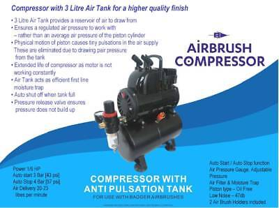 Badger Airbrush Compressor With Anti Pulsation (UK Plug) # BA1100