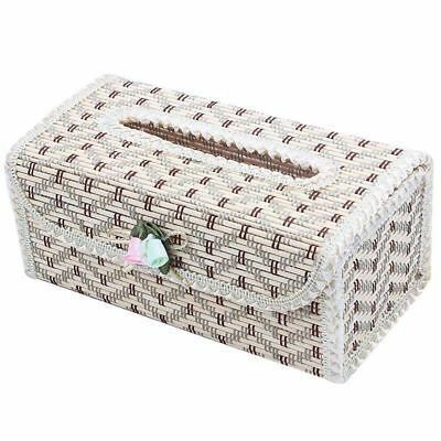 5X(Natural Bamboo Handmade Tissue Box Cover Holder for Vehicle,Lace beige whi M9