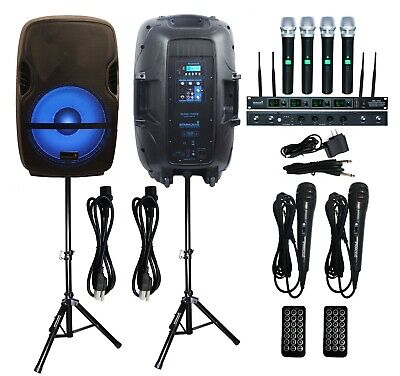 "STARAUDIO 2Pcs 15"" 2000W Powered PA Speakers DJ Stands 4CH Handheld Microphone"