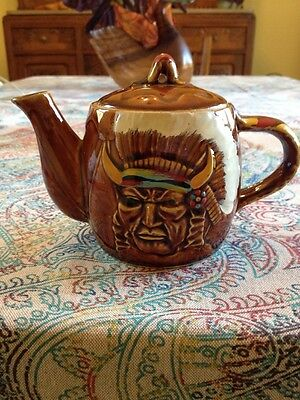 """Vintage Antique Native American Indian Head Ceramic Teapot 4"""" Tall"""