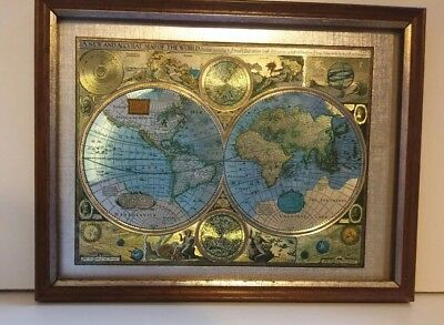 """Vintage 'A new and accvrat map of the world' framed picture coloured foil 9 x 7"""""""
