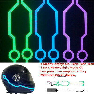 Fashion LED Strip Bar Easy Install FOR Motorcycle Helmet DIY Flashing Light Trim