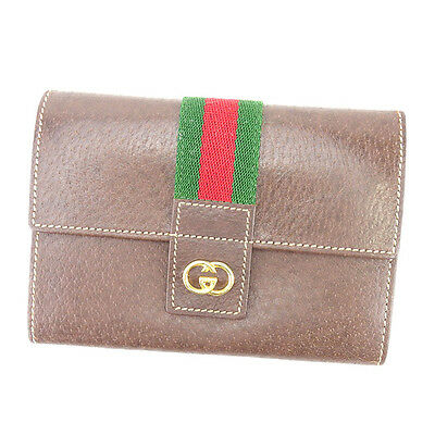 5a4798e3cbae Gucci Wallet Purse Interlocking Brown Green Woman unisex Authentic Used  Y7175
