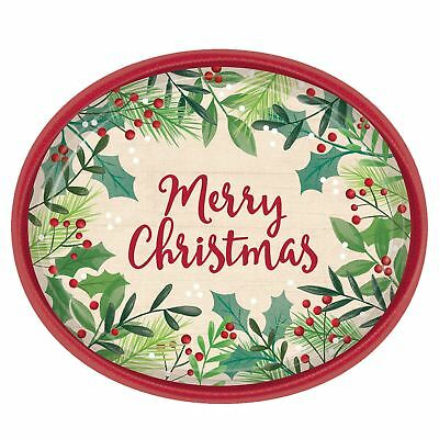 Merry Holly Day Oval Plates Festive Party Christmas