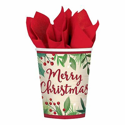 Merry Holly Day 266ml Cups Festive Christmas Party