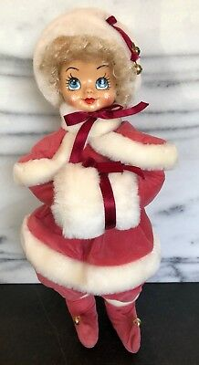Vintage Christmas Girl Lady Doll Blue Eyes Muff Jingle Bells Elf Shoes