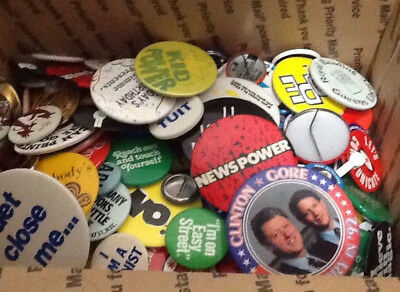 150 Pins Buttons Travel Advertising Computers Political Lot Vintage