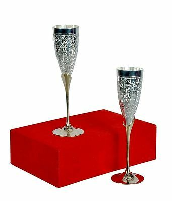 Set of 2 PCS Indian Silver Coated Plated Brass Two Tone Wine Goblet Glass Box PK