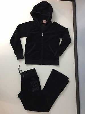 Juicy Couture Girls Velour Tracksuit, Size Age 8 Years, Black, Vgc