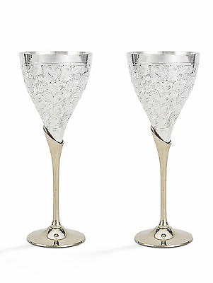 Set of 2 PCS  Indian Silver Gold Coated Plated Brass Two Tone Wine Goblet Glass