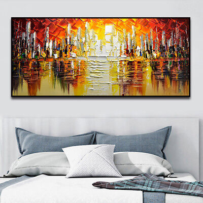 YA1030 Modern Large 100% Hand-painted oil painting on canvas Abstract city
