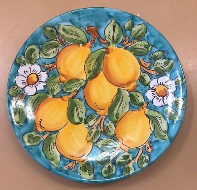 Vietri Pottery-10 inch Plate With Lemons.Made/Painted by hand in Italy
