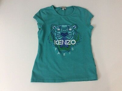 Kenzo Girls T Shirt, Size Age 8 Years, 128 Cm, Green, Tiger Face, Vgc