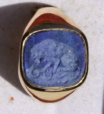 Roman Style Silver/Gold plated Intaglio Signet Seal Ring