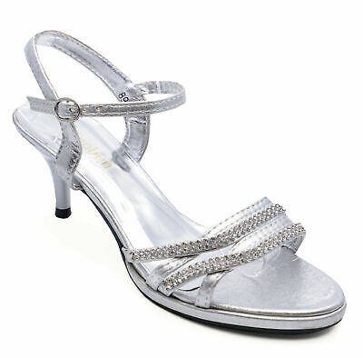 Ladies Silver Diamante Wedding Party Evening Prom Strappy Sandals Shoes Size 3-8