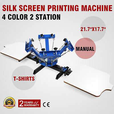 4 Color 2 Station Silk Screen Printing Machine SilkScreen Equipment T-Shirt