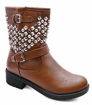 Womens Brown Zip Military Rock-Chick Biker Ankle Calf Flat Boots Shoes Size 3-8