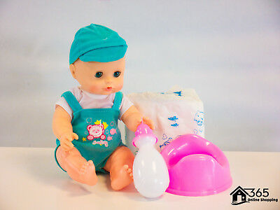 """12"""" Lifelike Large Size Soft Bodied Baby Doll Girls Boys Toy Interactive Sounds"""