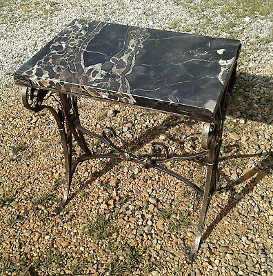Wrought Iron Table Plant Stand with Faux Marble Top Mid Century Era 1950s