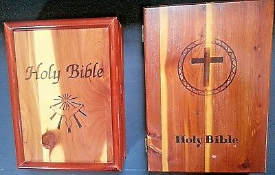 lot 2 Cedar wooden Hinged Box Boxes Bible Union Made Steelworkers Trinket VTG