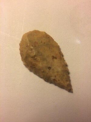 Stone Age Ancient Neolithic Stone Arrowhead + Pouch