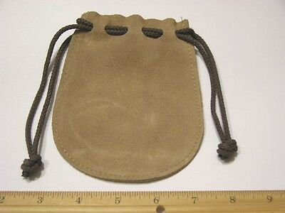 Leather pouch purse 5.25 x 4.25 inch with drawstring real soft supple leather