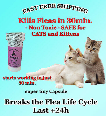 100 CAPSULES Flea Killer FOR CATS 2-30 Lbs. 15 Mg SUPER FAST Quick Results NEW