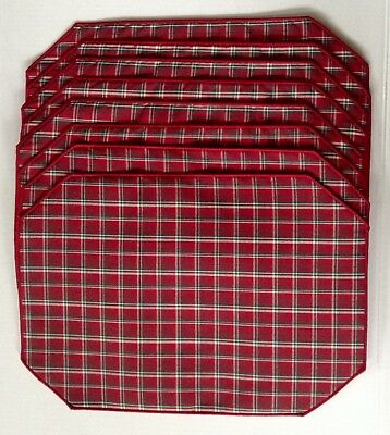 New ~ Longaberger Red, Green & White Plaid Tidings Placemats ~  Set Of 8!